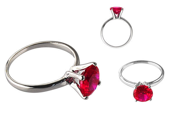 Cubic Zirconia Sterling Silver Ruby Red Round Solitaire