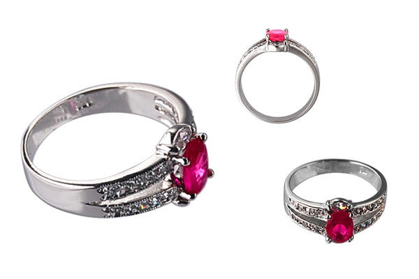 Cubic Zirconia Sterling Silver Ruby Red Oval with Clear Pave