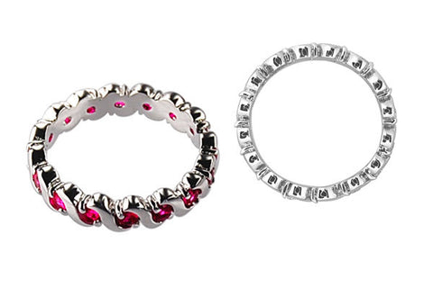 Cubic Zirconia Sterling Silver Ruby Red Eternity
