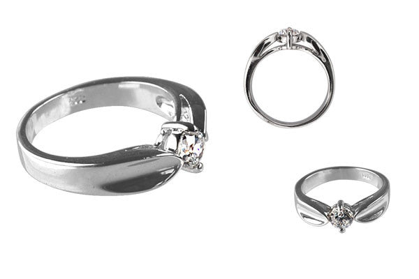 Cubic Zirconia Sterling Silver Clear Round Solitaire