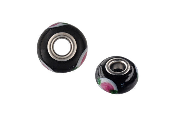 Lampwork Rondelle with Silver-Plated Core (Black w/Pink Flowers), 10x15mm