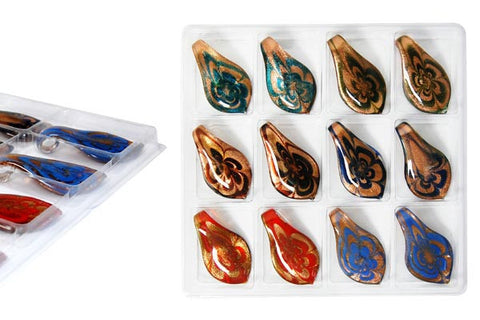Pendant Murano Foil Glass Value Pack (Smooth leaf XDB3)