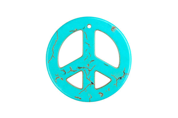 Howlite (Turquoise) Peace Sign Pendant