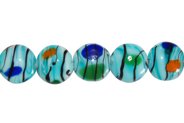Art Foil Glass Button (Aqua)