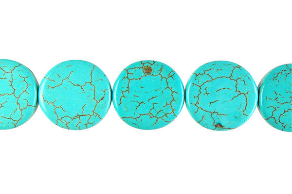 Howlite (Turquoise) Twist Coin Beads