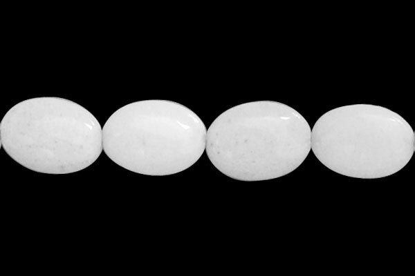 White Marble Flat Oval Beads