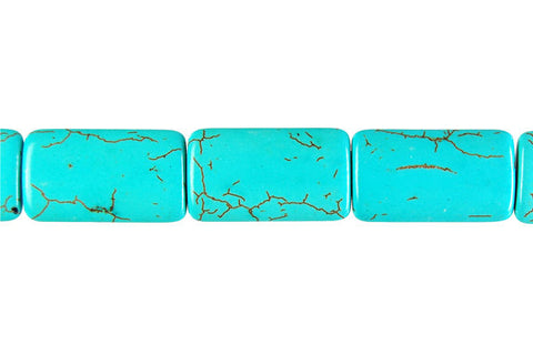 Howlite (Turquoise) Flat Rectangle Beads