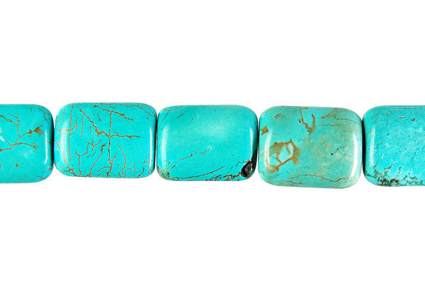 Howlite (Turquoise) Puffy Rectangle Beads