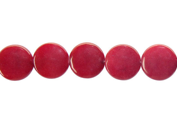Colored Jade (Red) Button Beads