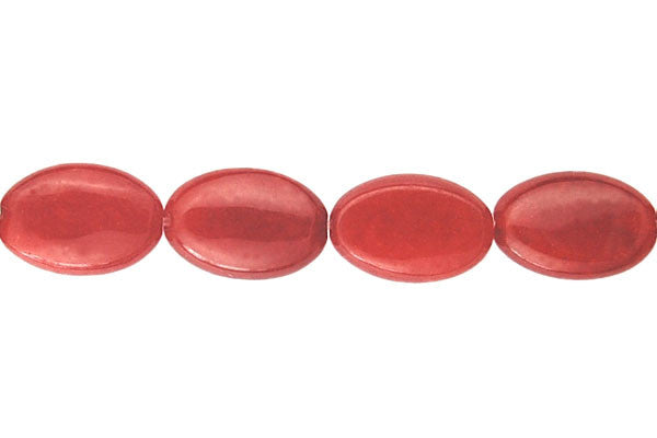 Colored Jade (Red) Flat Oval Beads