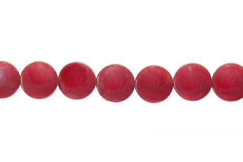 Colored Jade (Red) Coin Beads