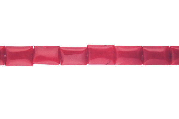 Colored Jade (Red) Flat Rectangle Beads