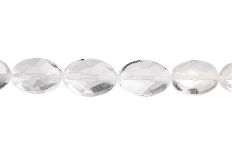 Clear Quartz Faceted Flat Oval