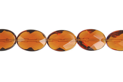Amber Quartz Faceted Flat Oval
