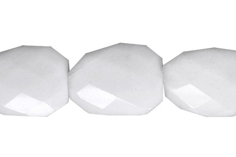 White Marble Twisted Faceted Flat Slab Beads