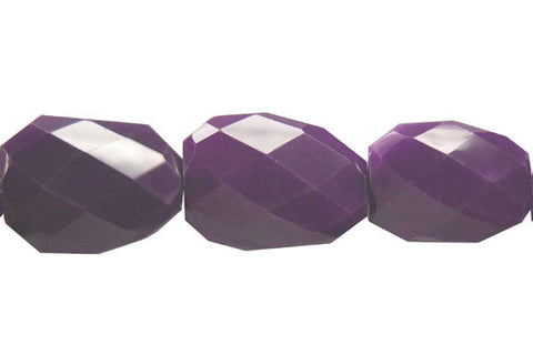 Colored Jade (Amethyst) Twisted Faceted Flat Slab Beads