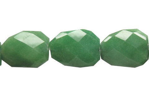 Colored Jade (Green) Twisted Faceted Flat Slab Beads