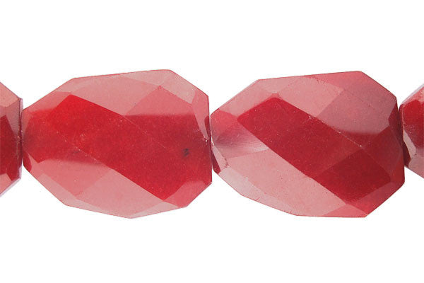 Colored Jade (Red) Twisted Faceted Flat Slab Beads