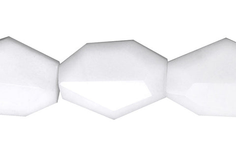 White Marble Faceted Slab Beads