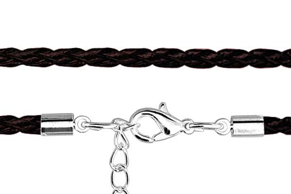 Leather Necklace, Braided, Brown with Silver-Plated Clasp