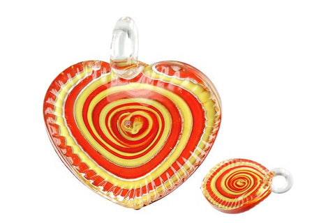 Pendant Murano Foil Glass Twisted Flat Heart (YHA04 Red)