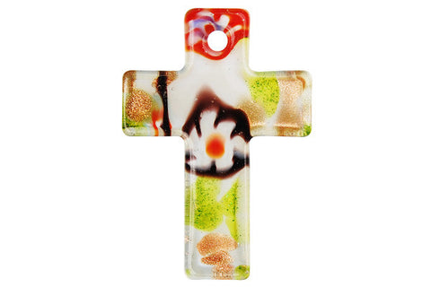 Pendant Murano Foil Glass Cross (White)