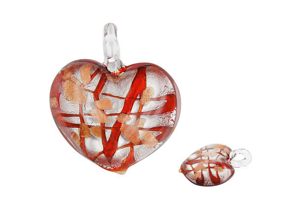 Pendant Murano Foil Glass Heart Style B (X-05 Red)