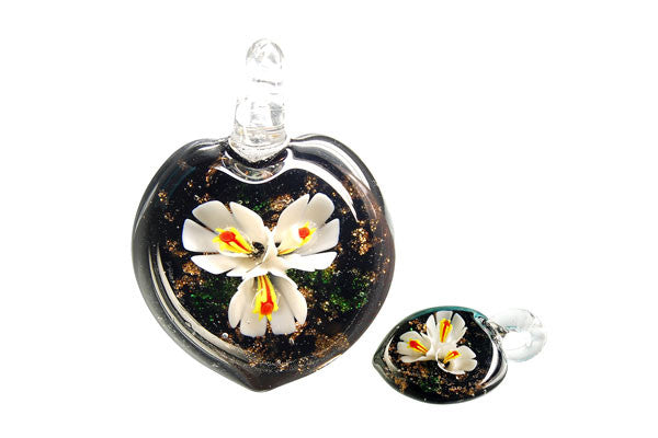 Pendant Murano Foil Glass Heart Flower (YHB15 White)