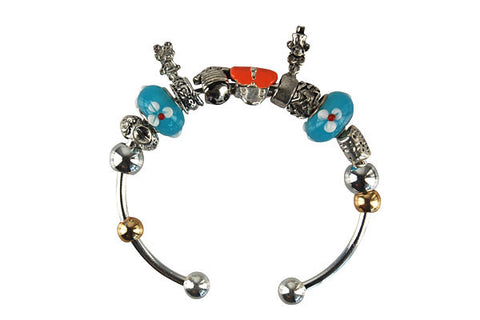 Pandora Style Bangle with Lampwork Beads, H006, Silver-Plated, 7.5""