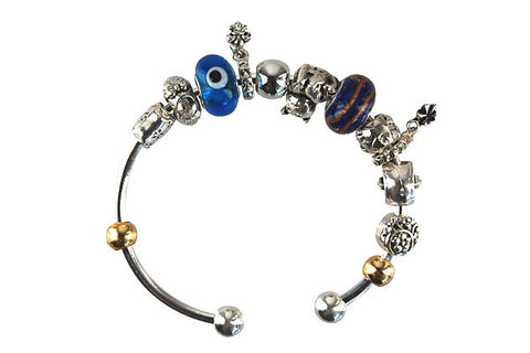 Pandora Style Bangle with Lampwork Beads, H007, Silver-Plated, 7.5""