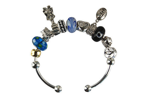 Pandora Style Bangle with Lampwork Beads, H008, Silver-Plated, 7.5""