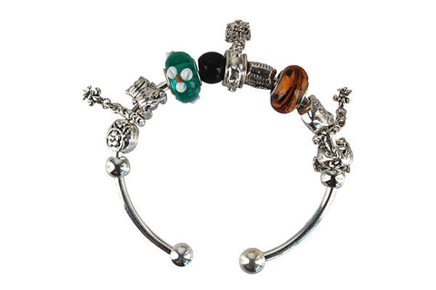 Pandora Style Bangle with Lampwork Beads, H009, Silver-Plated, 7.5""