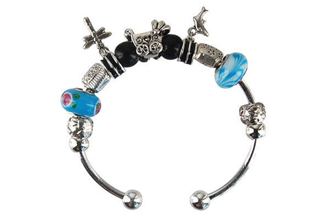 Pandora Style Bangle with Lampwork Beads, H010, Silver-Plated, 7.5""