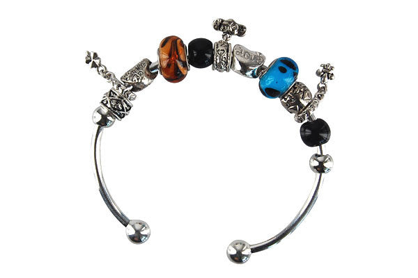 Pandora Style Bangle with Lampwork Beads, H015, Silver-Plated, 7.5""