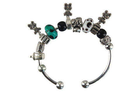 Pandora Style Bangle with Lampwork Beads, H018, Silver-Plated, 7.5""