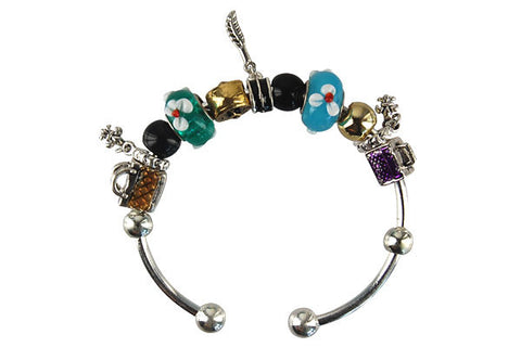 Pandora Style Bangle with Lampwork Beads, H019, Silver-Plated, 7.5""
