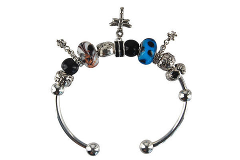 Pandora Style Bangle with Lampwork Beads, H020, Silver-Plated, 7.5""
