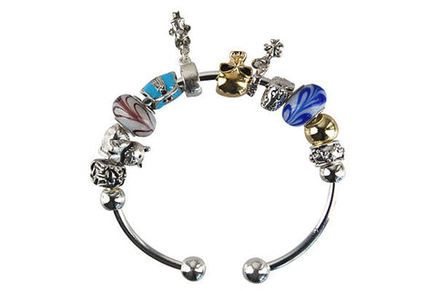 Pandora Style Bangle with Lampwork Beads, H025, Silver-Plated, 7.5""