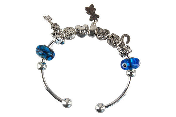 Pandora Style Bangle with Lampwork Beads, H031, Silver-Plated, 7.5""