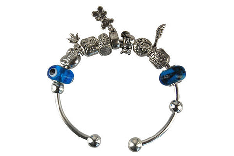 Pandora Style Bangle with Lampwork Beads, H034, Silver-Plated, 7.5""