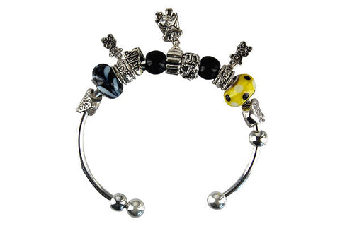 Pandora Style Bangle with Lampwork Beads, H035, Silver-Plated, 7.5""