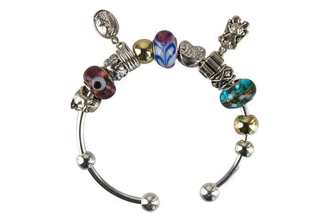 Pandora Style Bangle with Lampwork Beads, H060, Silver-Plated, 7.5""
