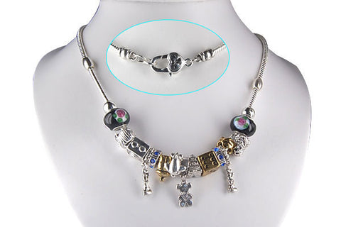 "Pandora Style Necklace w/ Black Lampwork Beads, ""Travel"", 16"""