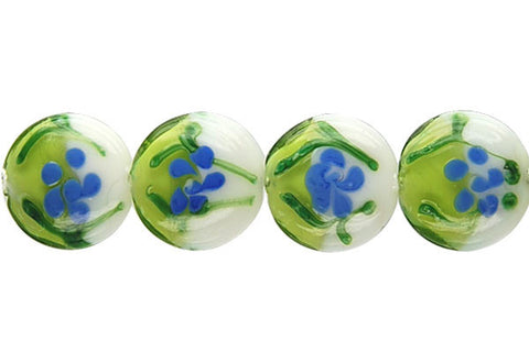 Art Foil Glass Button (B4 Green and White)