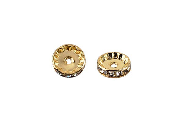 Gold-Plated Rondelle w/Crystal Rhinestones, White, 4x12mm, Curve Edge