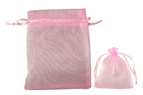 Organza Gift Pouch, Plain, Pink, 100x120mm