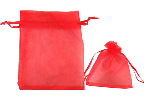 Organza Gift Pouch, Plain, Red, 100x120mm