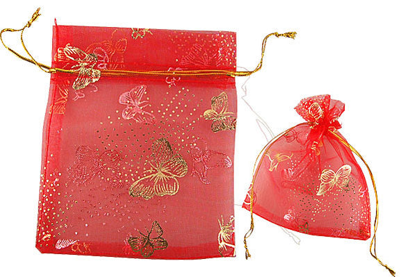 Organza Gift Pouch, Butterfly, Red, 50x70mm
