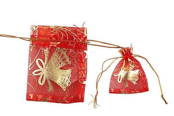 Organza Gift Pouch, Christmas Jingle Bells, Red, 50x70mm