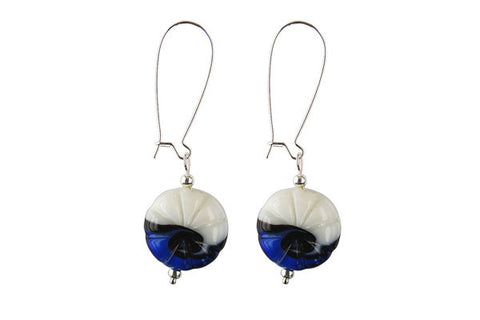 Murano Foil Glass Button with Earrings (AB03 Blue with White)